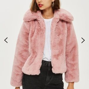 Pink fur plush coat : top shop petite 0
